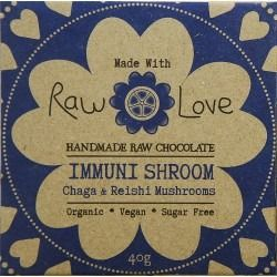 Raw Love Chocolate - Organic Cold Pressed Cacao Powder & Cacao Butter, Organic Erythritol, Organic Coconut Oil, Organic Lucuma, Non Irradiated Mushrooms: Wild Harvested Chaga & Reishi, Organic Vanilla Bean, Organic Luo Han Guo Extract, Sea Salt & Organic Cinnamon Bark Essential Oil