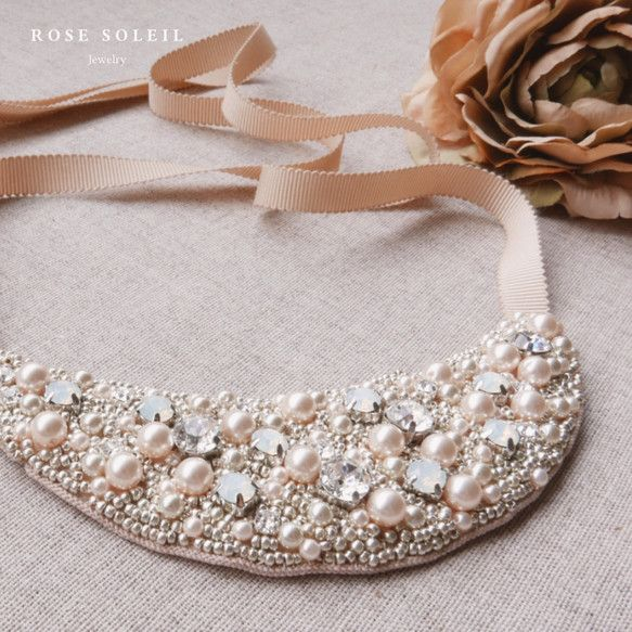 ✧ Statement Necklace ✧ Blossom Wind Collection - Rose Soleil Jewelry のパールとスワロフスキークリスタルステートメントネックレス