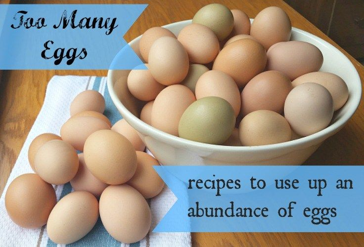 Here's a list of recipes to help you use up an abundance of eggs. Tips on freezing eggs, too.