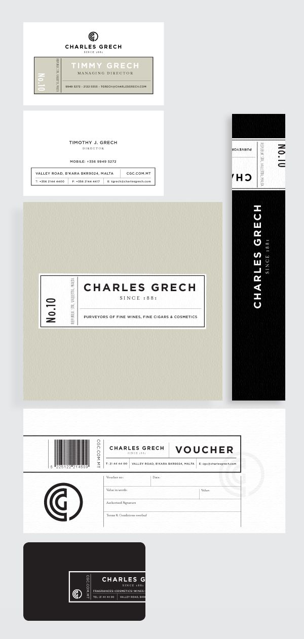 visual identity | Charles Grech brand collateral / Designer: Mangion & Lightfoot