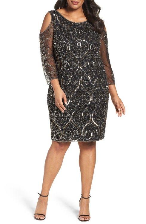 Main Image - Pisarro Nights Embellished Cold Shoulder Sheath Dress (Plus Size)