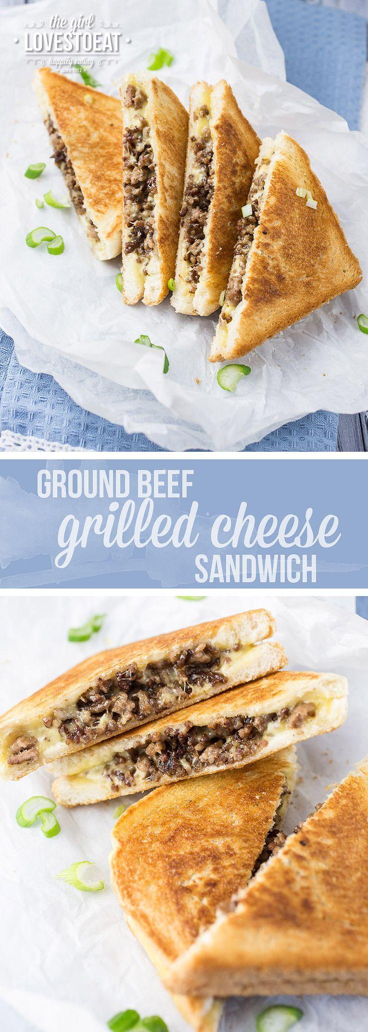 Ground Beef Grilled Cheese Sandwich {thegirllovestoeat.com}