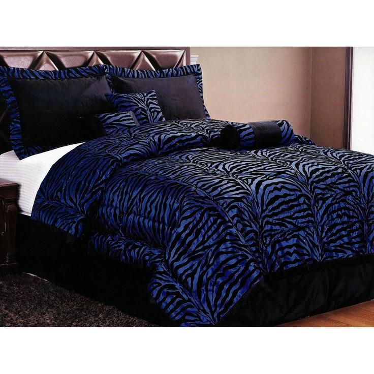 Blue Zebra Bedding Set. $78. i want this soo bad.