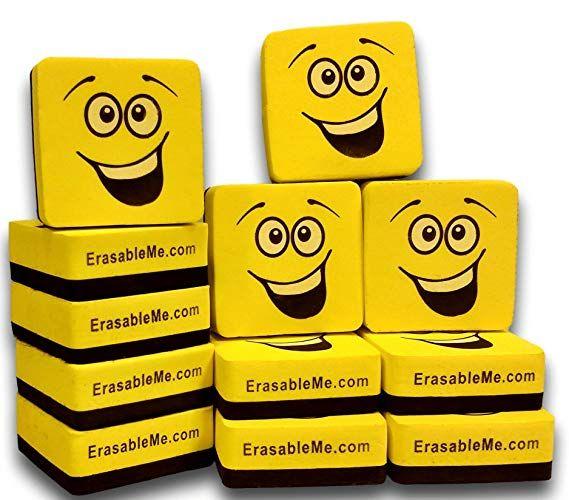 12 Magnetic Whiteboard Erasers Mini Eraser Ideas Classroom Classy Emoji Affiliate Jbem S Magnetic White Board Whiteboard Eraser Dry Erase Whiteboard