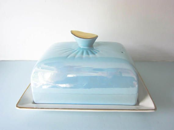Butter dish blue butter dish 1950's style Vintage