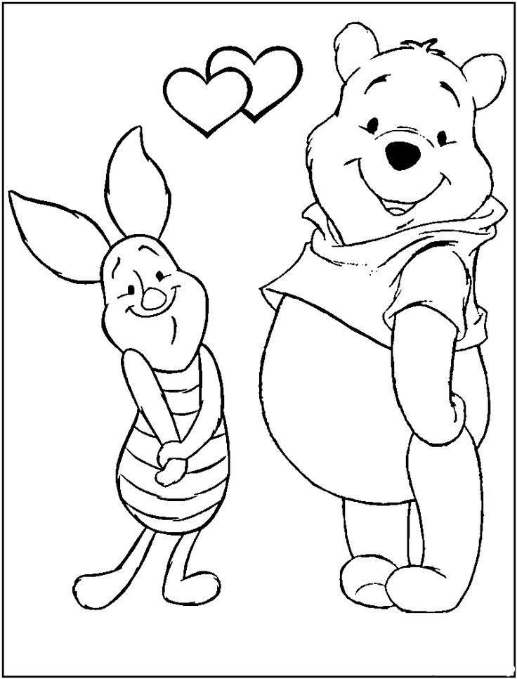 Valentines Pooh Bear Coloring Pages