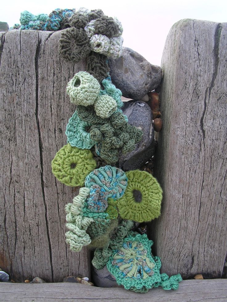 Hook and Scumble crocheting with natural yarns, which makes 3D pieces of art work
