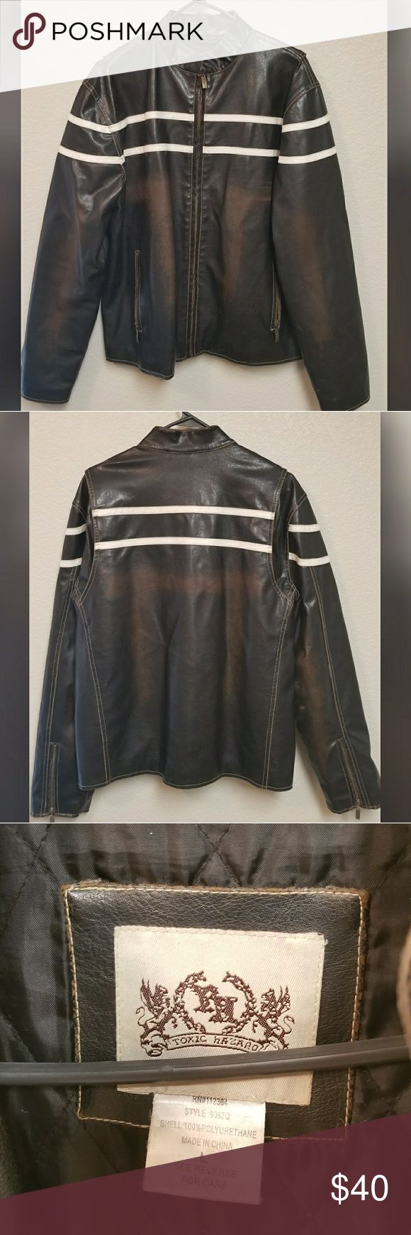 Men's Toxic Hazard Faux Leather Jacket Large Men's Toxic Hazard black with brown distressed faux leather (100% polyurethane) jacket size Large -- perfect for fall! Toxic Hazard Jackets & Coats