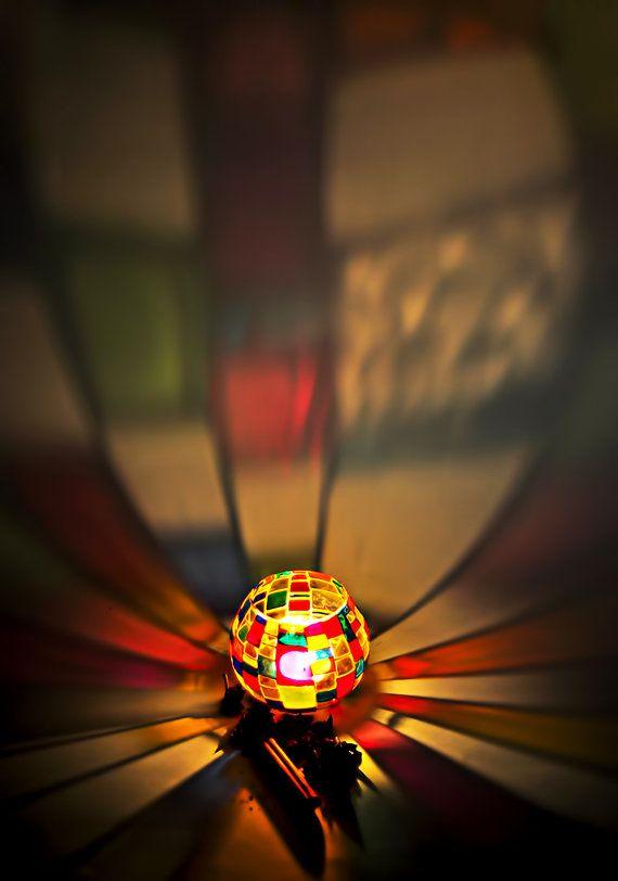 Supporto di candela Votive macchiato decorazione di mosaico di vetro candela titolare, candele luce del tè,