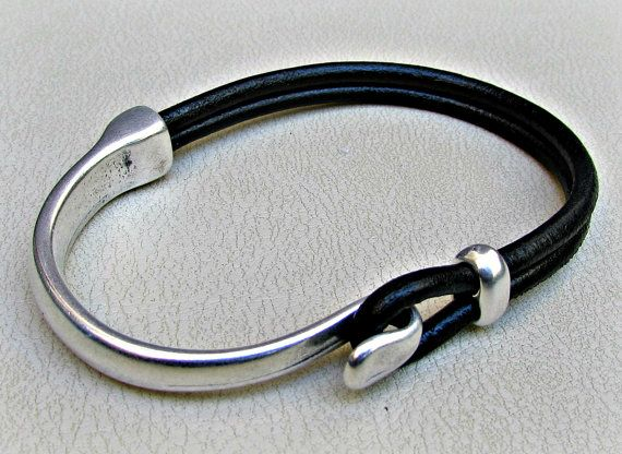 Mens Bracelet Leather, Leather Bracelet, Black Brown Leather Mens Bracelet, Silver Plated Customized On Your Wrist – Schmuck