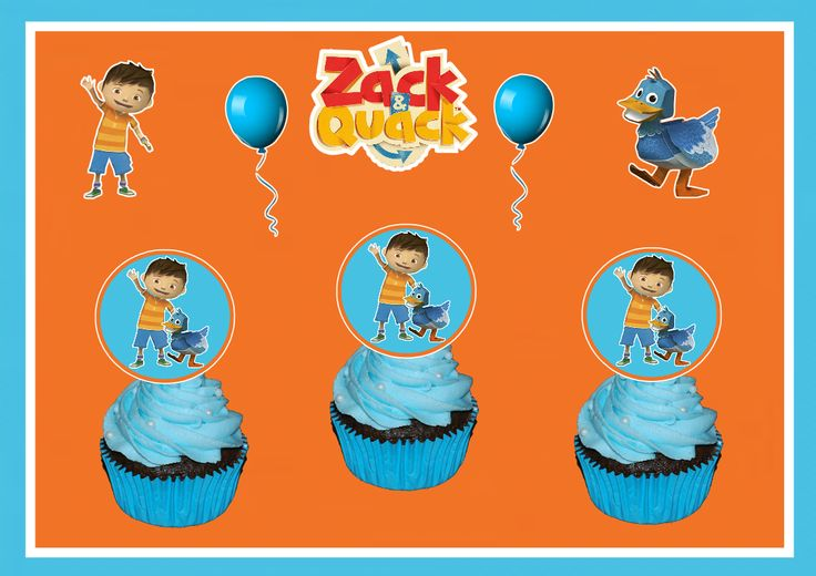 This is a listing for 12 Zack and Quack Cupcake Toppers.  These cupcake toppers are roughly 3 inches in height and are made from 110 lb high quality cardstock.  **Please note: these are handmade, not made of plastic and only one side has image**