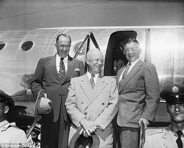 Eisenhower, center, used the  airplane until November 1954, when it was replaced. Above, Secretary of Agriculture Ezra Taft Benson (left) and Secretary of Interior Douglas McKay (right) in September 1954