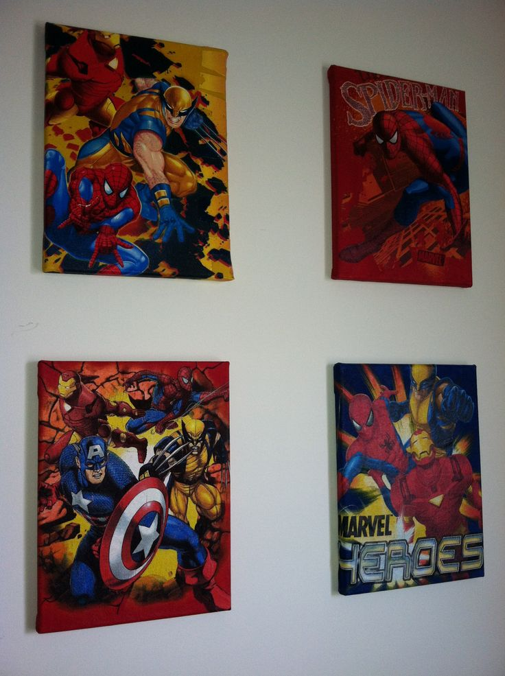 Marvel super hero T shirts(garage sale .25c) cut them up and Mod Podge onto canvas! Easy and great art for my sons Spiderman room!!!