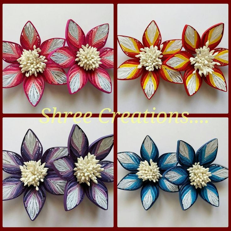 """Beautiful shaded flowers in 4 colors.... Made in order... Leave comment or DM me for further details... #quilling #instaquilling #paperquilling #art…"""