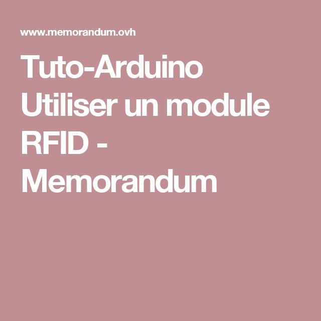 Tuto-Arduino Utiliser un module RFID - Memorandum