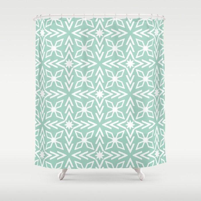 Mint Shower Curtain Seafoam Green Shower Mint Green Shower Star