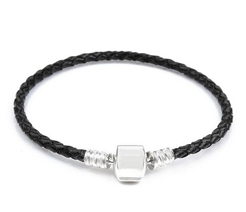 Orso - Leather with Silver Clip Pandora Style Bracelet
