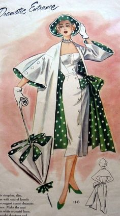 Fashion in Illustration 50s vintage style white sheath wiggle dress day cocktail jacket long bell sleeves green polka dot bow lining hat umbrella color print ad model