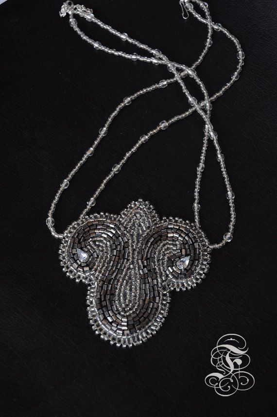 """Bead Embroidery Necklace """"Silver Crest"""""""