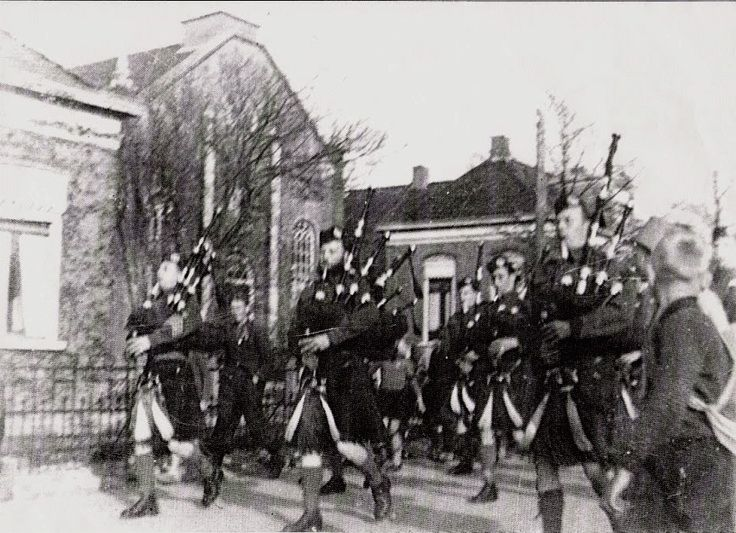 Ten Boer - THE QUEEN'S OWN CAMERON HIGHLANDERS OF CANADA - 18 April 1945 Cameron Pipes & Drums playing at Ten Boer, by order of the C.O. Camerons of Canada.