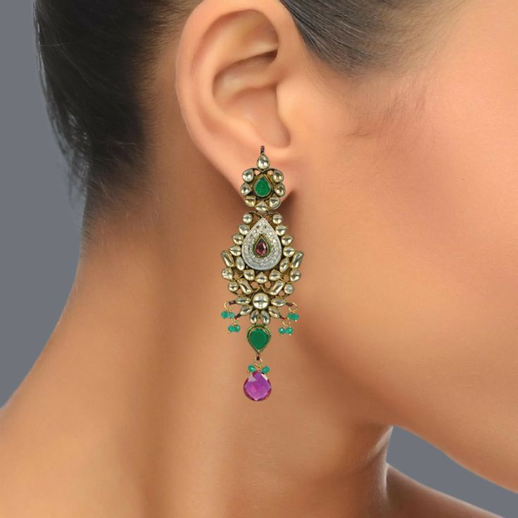 Featuring these Beautiful Gold Plated Kundan Earrings in our wide range of Earrings. Grab yourself one. Now!