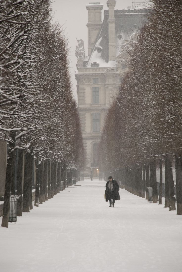 A snowy path in front of the Louvre, Paris