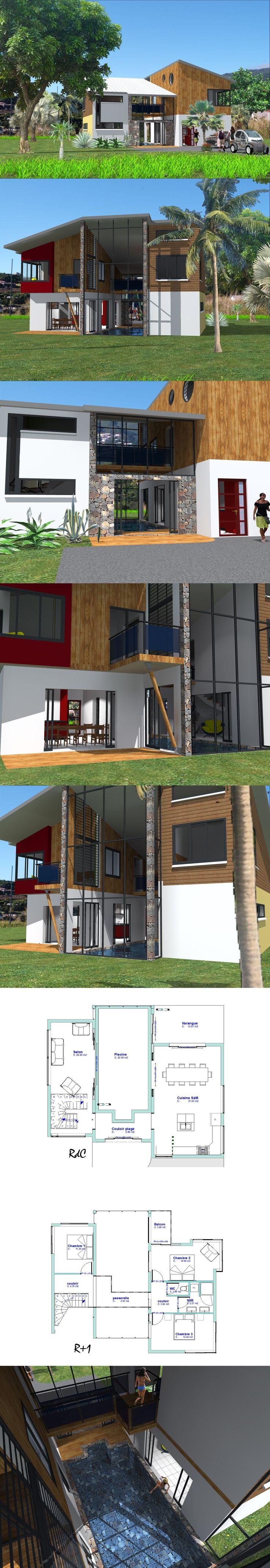 Maison avec piscine intérieure, trois chambre à l'étage, d'un côté du bassin, l'espace repas, de l'autre, le salon.