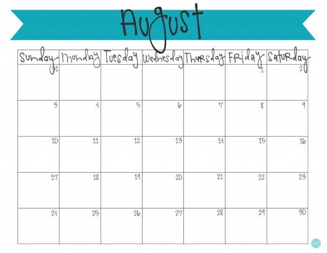 free printable august 2014 calendar with banner