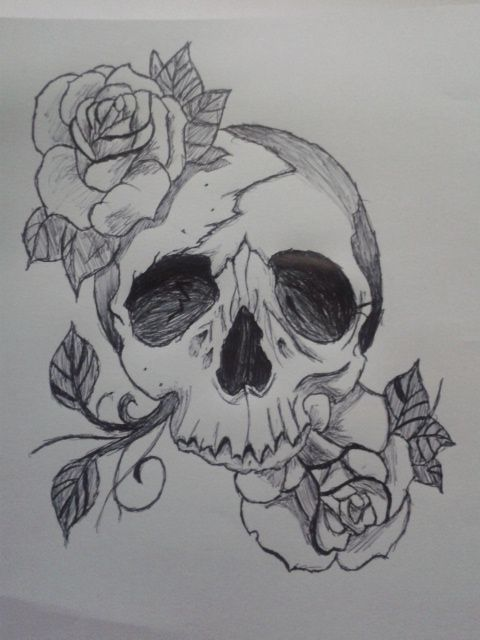 17 best ideas about skull and rose drawing on pinterest