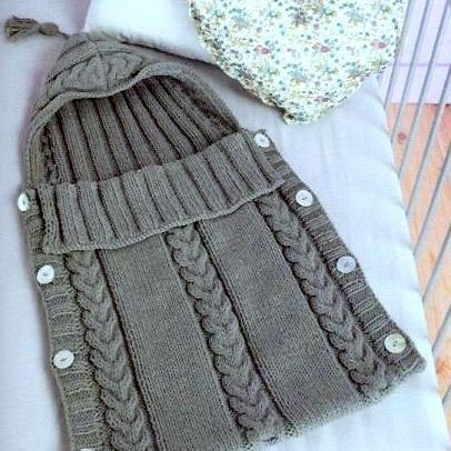 Knitting Pattern Baby Sleeping Bag Cocoon Sleep Sack Papoose  Cable INSTANT DOWNLOAD PDF