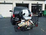"MaxxTow 30x50 Wheelchair Carrier w/ 48"" Long Ramp - 2"" Hitches - Folding - Steel - 500 lbs MaxxTow Hitch Cargo Carrier MT70106"