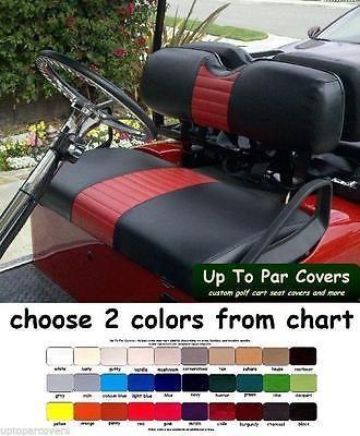 E-Z-GO TXT Golf Cart Custom Front & Rear Flip Seat Cover Combo Set - STAPLE-ON