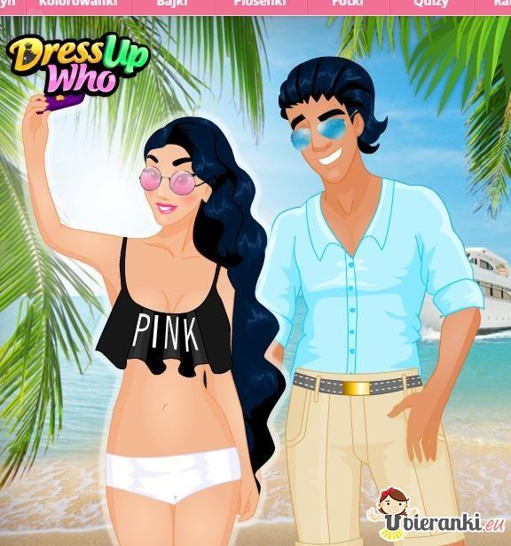 Plażowa kreacja pary // http://www.ubieranki.eu/ubieranki/10381/podroz-zakochanych-par.html