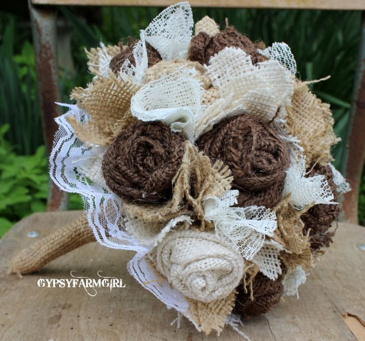 Burlap and Lace Bride's Bouquets and Boutonnieres Wedding Fabric Flowers