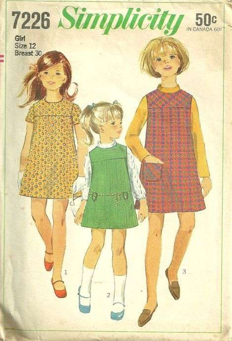 simplicity patterns | Collarless Dress or Jumper Pattern Simplicity 7226 Vintage 60s Size 12 ...I remember mom making these little dresses for my sister and me.  Now that I sew, I see why.  It is the easiest and fastest dress to put together.  We did not have a whole lot of money when we were all growing up so this is one pattern that does not require very much material.  She could make us matching dresses from the same cut of fabric.  Love it, Mom!