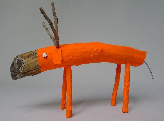 Neon Orange small Wooden Deer