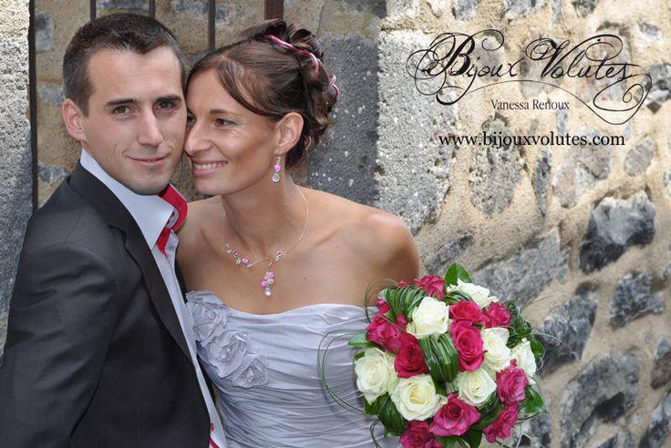 Bijoux mariage avec perles fuchsia rose, parure bijoux tout fins