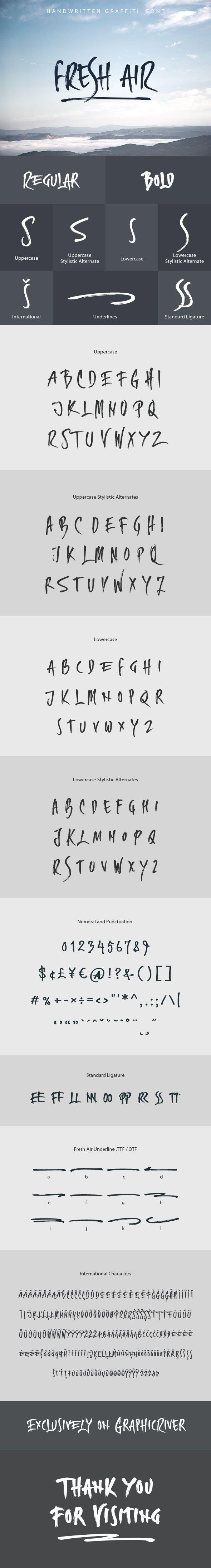 Fresh Air Handwritten Graffiti #Font - #Hand-writing #Script Download here: https://graphicriver.net/item/fresh-air-handwritten-graffiti-font/20169566?ref=alena994