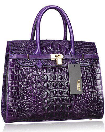 41df855bab25 Pijushi Embossed Crocodile Purse Genuine Leather Satchel Handbags Office Padlock  Bag 22130