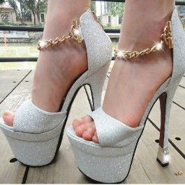 Glitter Tassel Chain High Heels