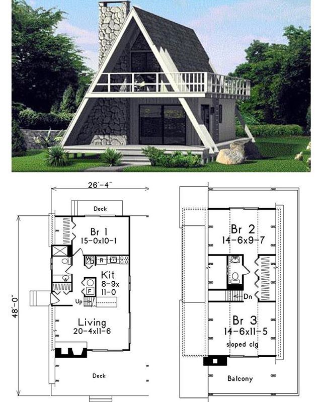 A-Frame House Plan. Total Living Area: 1272 sq. ft., 3 b and 1.5 bathrooms.