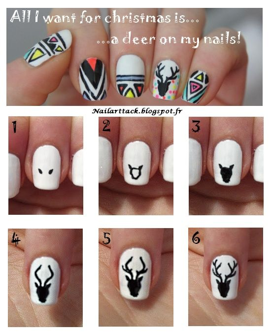 How to draw a deer on your nail with a toothpick!