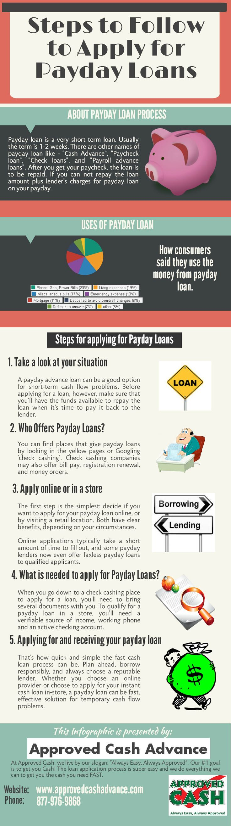 Get quick and fast cash at Approved Cash Advance. Payday loans are cash advances provided to a borrower to meet financial needs. As a borrower, you will be required to write a check from your personal checking account as collateral to cover the full payment of this loan.