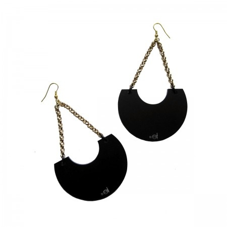 Moon Earrings With a half moon detail in black satined acrylic glass and golden aluminium chain.  Golden hoops