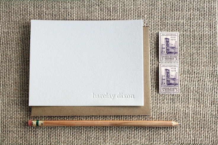 Letterpress Blind Impression Stationery Set (century schoolbook font, lower case) - 15 Qty. $25.00, via Etsy.