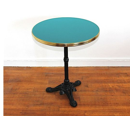 Table de bar / bistrot ronde turquoise
