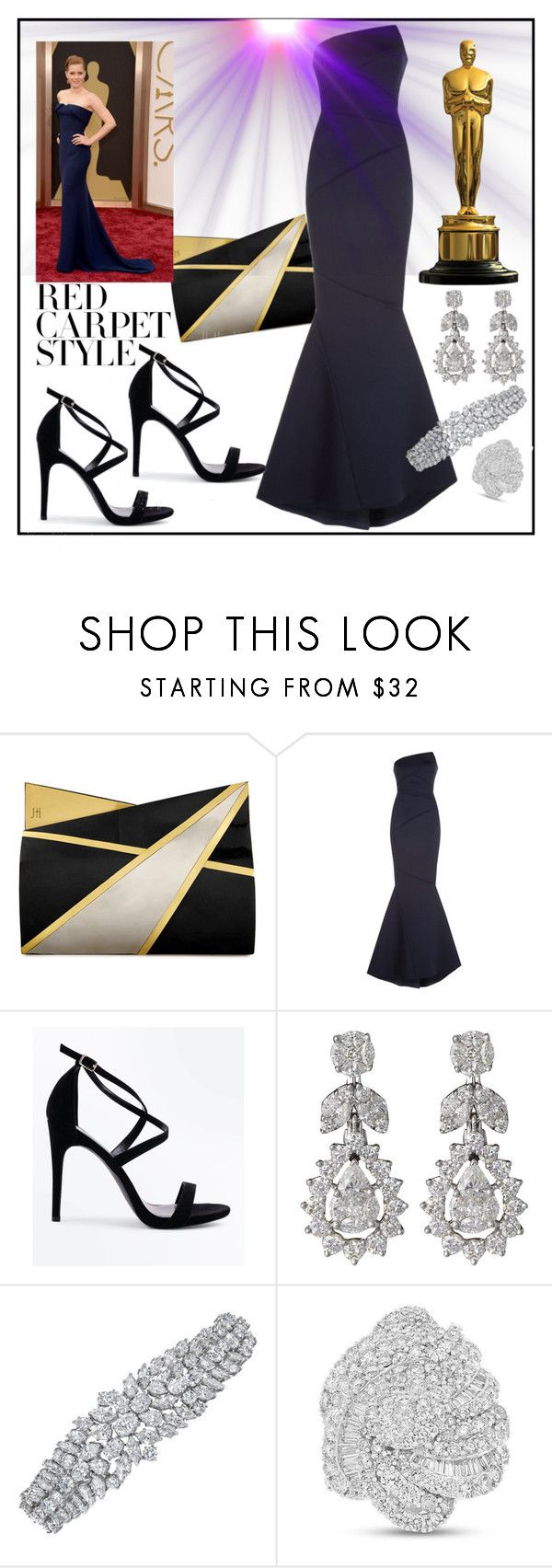 """Red Carpet Queens: Oscar Throwback"" by terryandjim ❤ liked on Polyvore featuring Jill Haber, Rachel Gilbert, New Look, Diamond Scene, redcarpetstyle and OscarsThrowback"