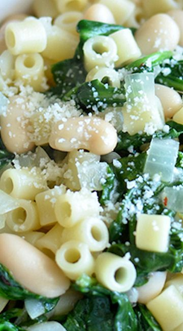 Spinach and White Beans with Ditalini