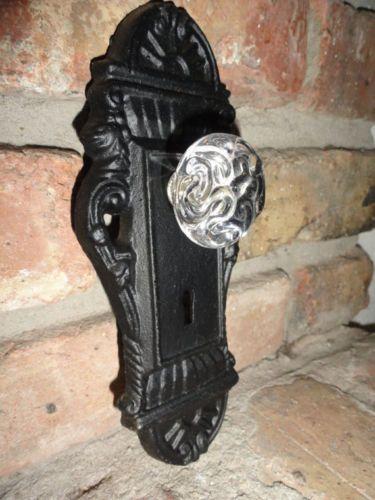 Cast-Iron-decorative-door-knob-acrylic-knob-Key-hole-door-handle-black-finish