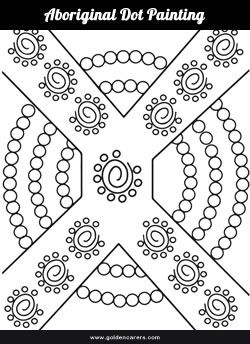 Aboriginal dot painting template for colouring.                                                                                                                                                                                 More